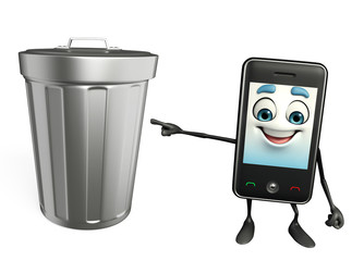 Mobile character with dustbin
