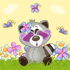 Raccoon with flowers