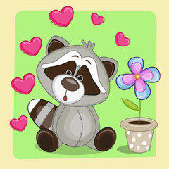 Raccoon with heart and flower