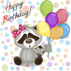 Raccoon with balloons