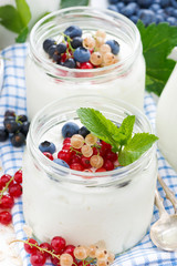yogurt with berries, close-up