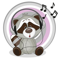 Raccoon with headphones