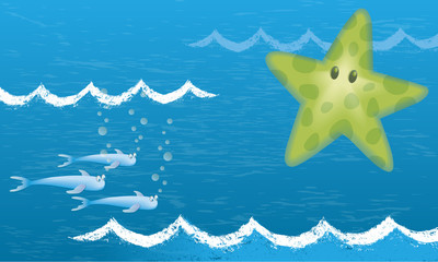 Three fish and a starfish. A nice illustration of the seabed