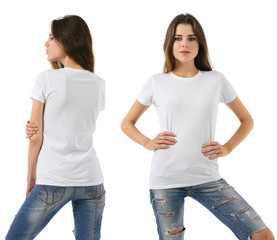 Sexy woman with blank white shirt and jeans