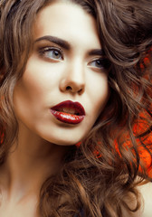 Beauty Woman with Perfect Makeup Beautiful Professional Holiday