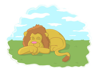 Illustration of a lion sleeping in a meadow