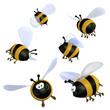 Obrazy na płótnie, fototapety, zdjęcia, fotoobrazy drukowane : Cartoon bees