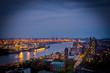canvas print picture - Hamburg bei Nacht von oben
