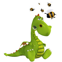 cartoon dragon with a bee