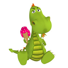 3d cartoon Dragon with ice cream