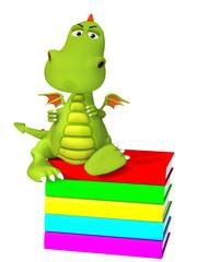 3d cartoon dragon with books