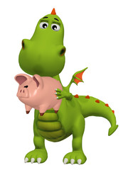 Cute 3d cartoon dragon with Piggy Bank