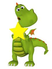 Cute 3s cartoon dragon with a star