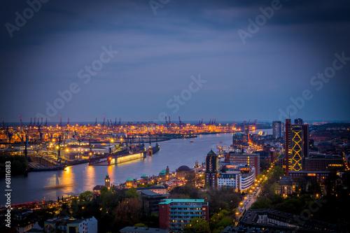 canvas print picture Hamburg bei Nacht von oben