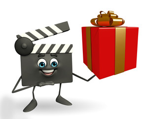 Clapper Board Character with gift box