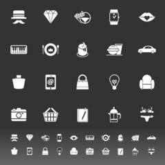 Department store item category icons on gray background