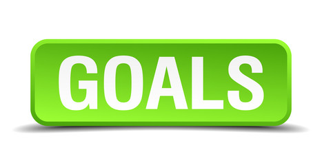 Goals green 3d realistic square isolated button