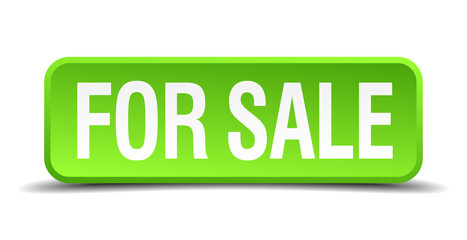 for sale green 3d realistic square isolated button