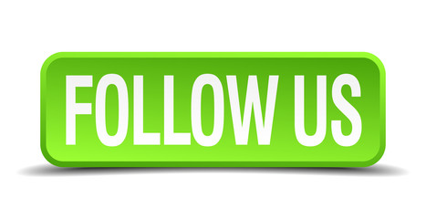 follow us green 3d realistic square isolated button
