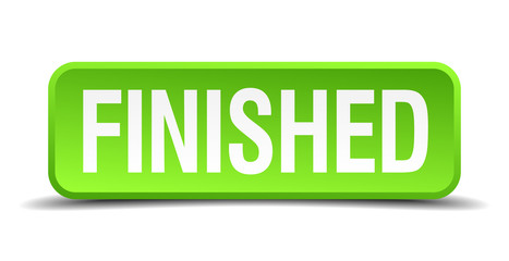 Finished green 3d realistic square isolated button
