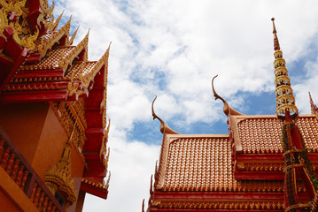 Tympanum and gable of Buddhist temple in Thailand