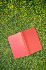 Open Red Book on Green Grass