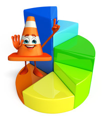 Construction Cone Character with circular graph