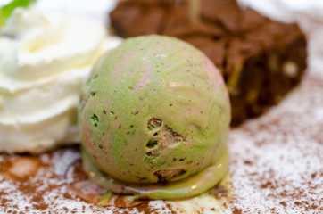 Gourmet ice cream with Japanese green tea Matcha