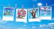 canvas print picture - Urlaubsreif, Polaroid mit Urlaubsbildern