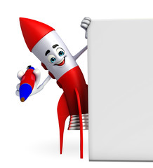 Rocket character with pen and sign