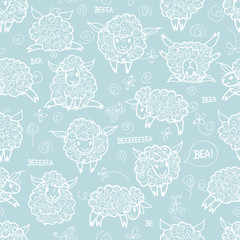 Sheep / Children's seamless wallpaper with cute animals