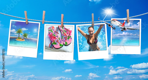 canvas print picture Urlaubsreif, Polaroid mit Urlaubsbildern