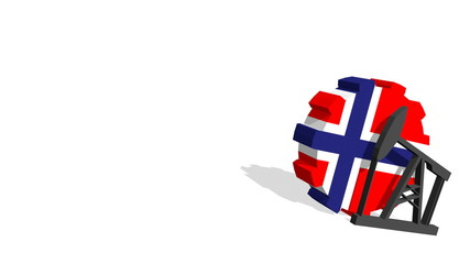 norway national flag on gear and 3d derrick model near
