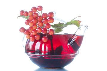 viburnum tea in glass teapot