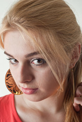 Portrait of beautiful blond young Caucasian woman