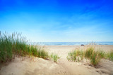 Fototapety Calm beach with dunes and green grass. Tranquil ocean