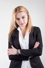 Cute smiling blond business woman