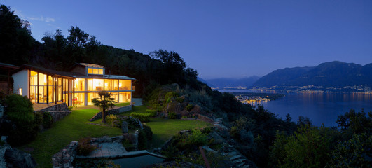Nocturne view of villa