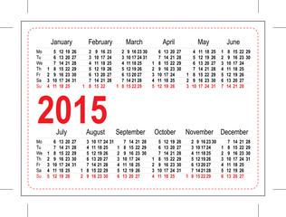 Template pocket calendar 2015