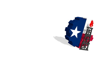 texas flag on gear and 3d gas rig model near