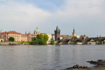 Prague. View of the Vltava River and Karlov Bridge