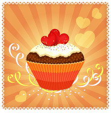 Greeting card with cupcake and hearts