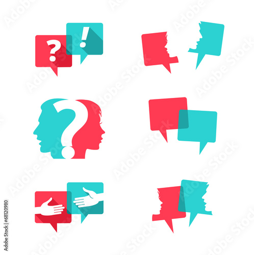 Set of speech bubbles with people and question mark - 68120980
