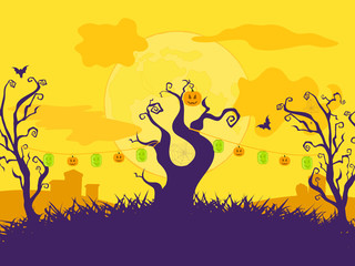 Halloween cartoon Vector background