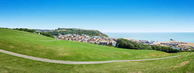 panoramic view over Hastings UK