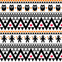 Halloween seamless pattern - tribal, Aztec print style
