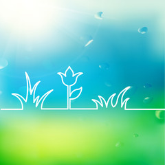 Green summer flower design.