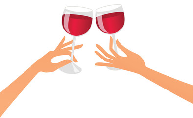 Hands with red wine drinks celebrating