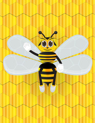 Honey bee cartoon with background