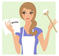 Young woman with recipe book cooking